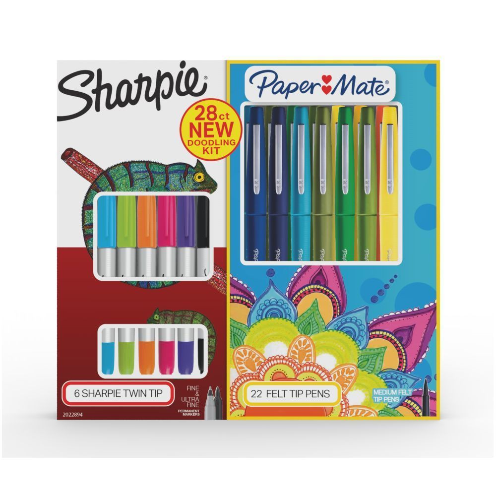 Sharpie Permanent Markers & Paper Mate Flair Box 28ct, Multi-Colored