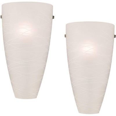 "Possini Euro Design Modern Wall Light Sconces Set of 2 White Striped Glass Pocket Hardwired 13 1/4"" High Fixture Bedroom Bathroom"