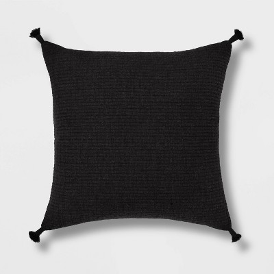 Euro Soft Texture Tasseled Throw Pillow Black - Project 62™
