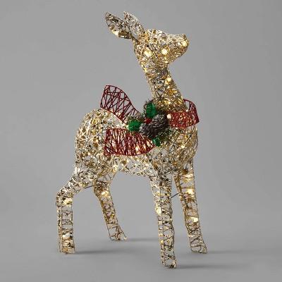 24in Rattan-Look Fawn Christmas UL LED Novelty Sculpture - Wondershop™