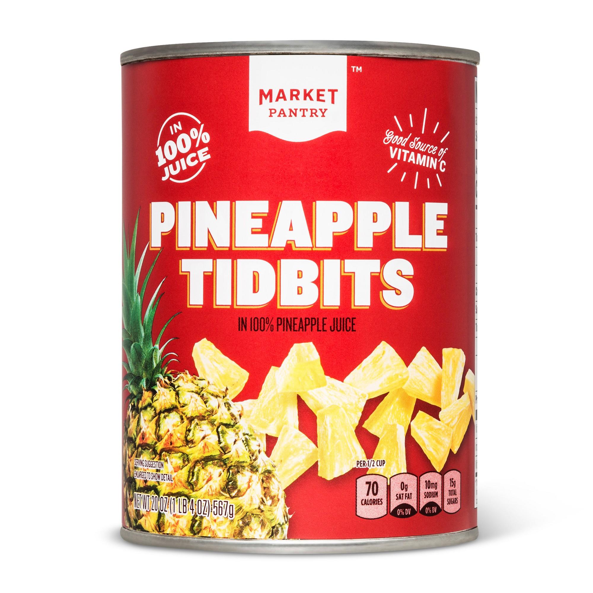 Pineapple Tidbits in 100% Pineapple Juice 20oz - Market Pantry