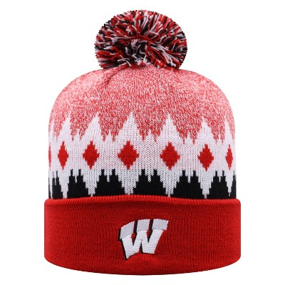 NCAA Wisconsin Badgers Men's Jagged Knit Cuffed Beanie with Pom