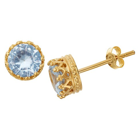 6mm Round-cut Aquamarine Crown Earrings in Gold Over Silver - image 1 of 1