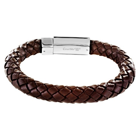 Men S Crucible Leather Braided Bracelet Brown