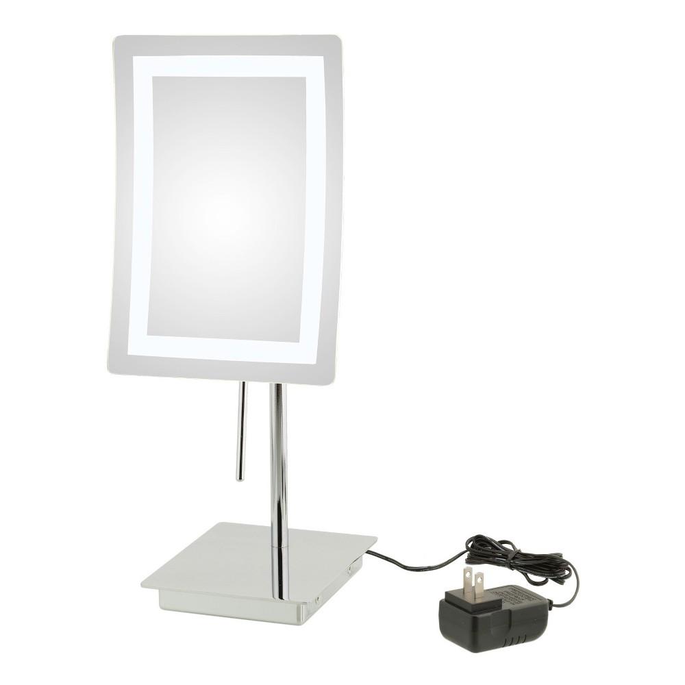 Aptations Single-Sided Led Rectangular Freestanding Vanity Mirror Chrome (Grey)