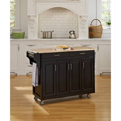 Kitchen Carts And Islands Wood Top Black - Home Styles