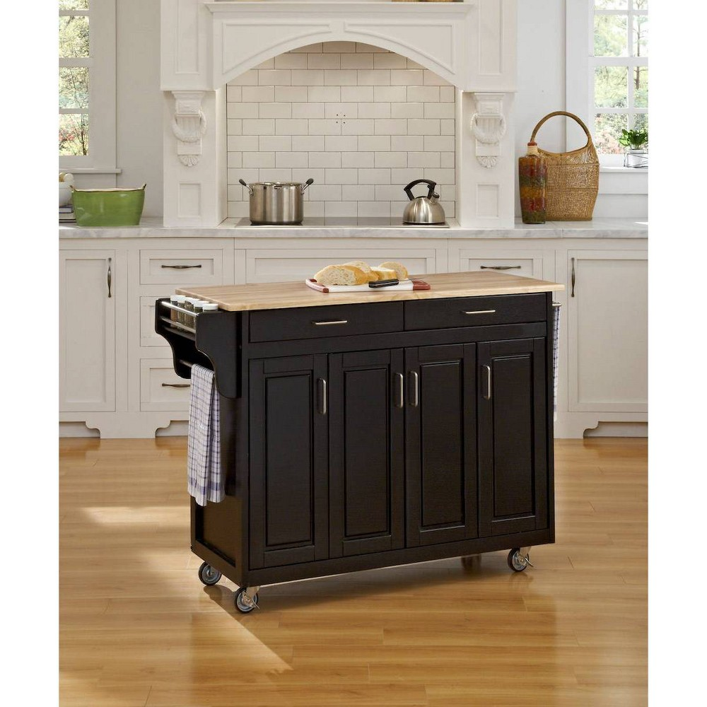 Kitchen Carts And Islands with Wood Top Black - Home Styles