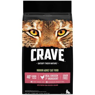 Crave Grain Free Indoor Dry Cat Food with Protein From Chicken and Salmon - 10lbs