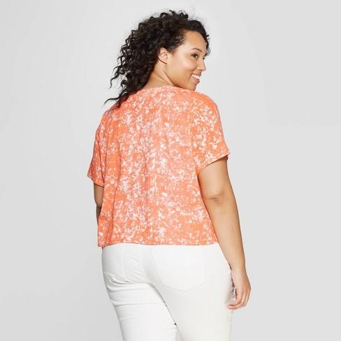 91b6d74e3fc Women s Plus Size Short Sleeve Crewneck Be Kind Cropped T-Shirt - FREEZE  (Juniors ) - Orange