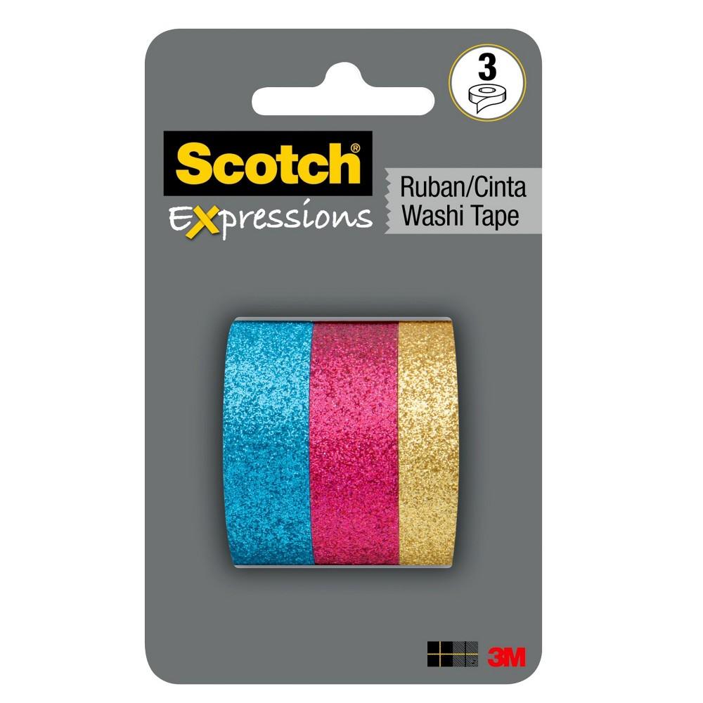3ct Glitter Washi Tape - Scotch, Pink