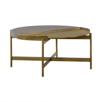Dua Coffee Table Gray Concrete/Antiqued Brass - Armen Living