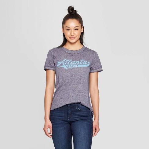 be4a674e7 Women's Casual Fit Short Sleeve Crewneck Atlanta Script Graphic T-Shirt - Modern  Lux Blue