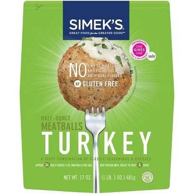 SIMEK'S Gluten Free Turkey Meatballs - Frozen - 17oz
