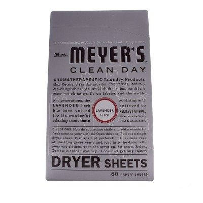 Mrs. Meyer's Clean Day Dryer Sheets Lavender Scent - 80ct