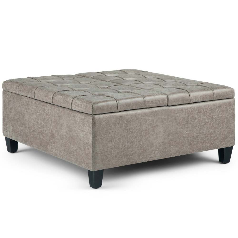 Elliot Coffee Table Storage Ottoman Distressed Gray Taupe Faux Air Leather - Wyndenhall