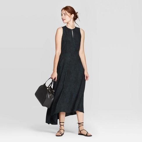 Women's Snake Print Sleeveless Round Neck A Line Maxi Dress - A New Day™ Dark Green - image 1 of 3