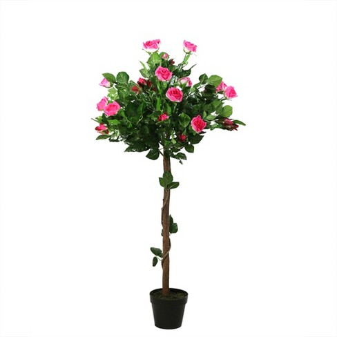 Northlight 4.1' Unlit Artificial Potted White and Pink Rose Garden Tree - image 1 of 4