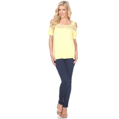 Women's Cut Out Shoulder Bexley Tunic Top - White Mark