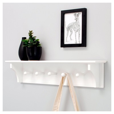 foster wall shelf with pegs white target rh target com wooden wall shelf with pegs white wall shelves with pegs
