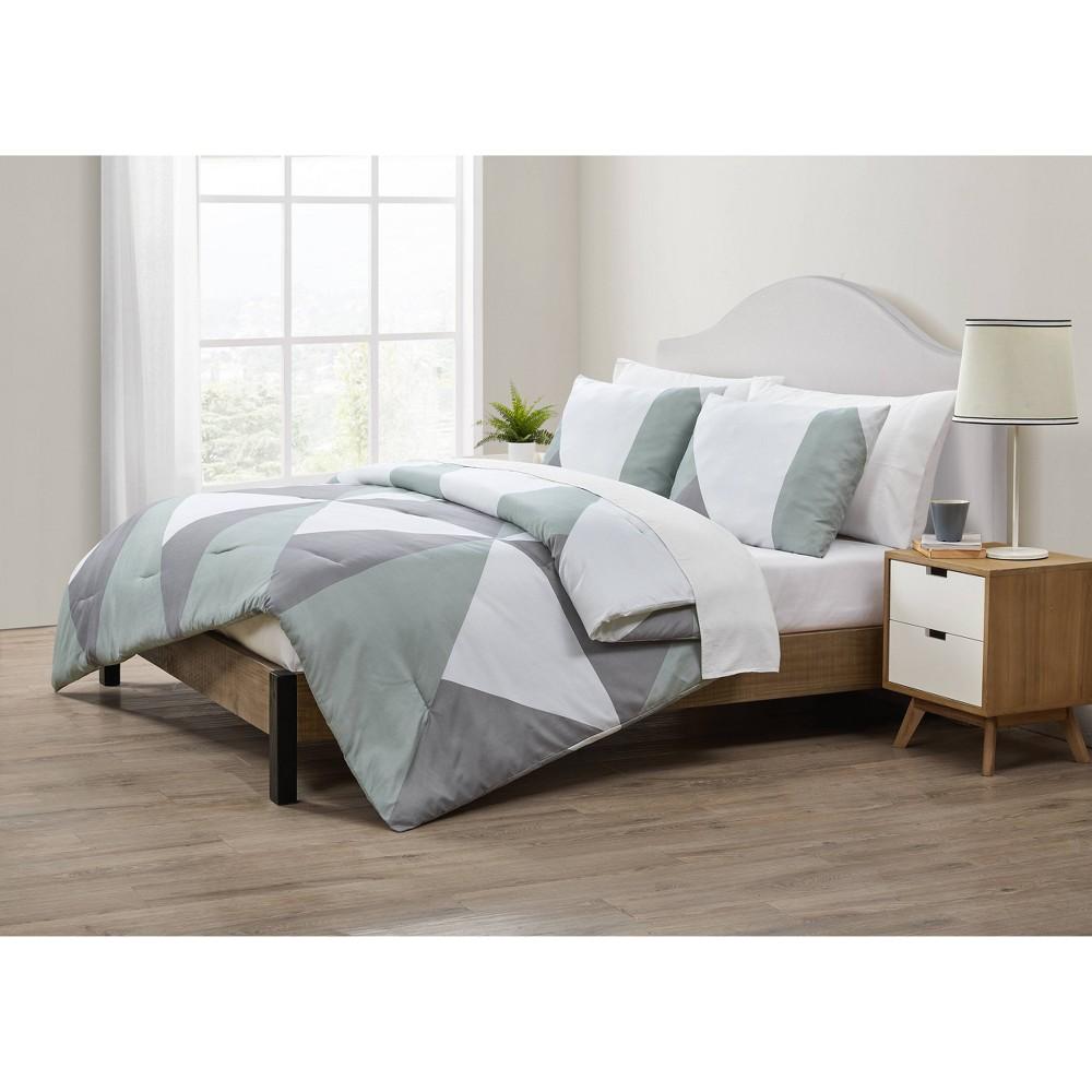 Queen 3pc Geo Comforter Set Gray Green Jade Oake