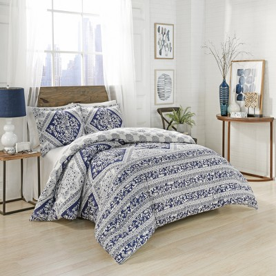 Blue Brielle Reversible Comforter Set (Queen)- Marble Hill