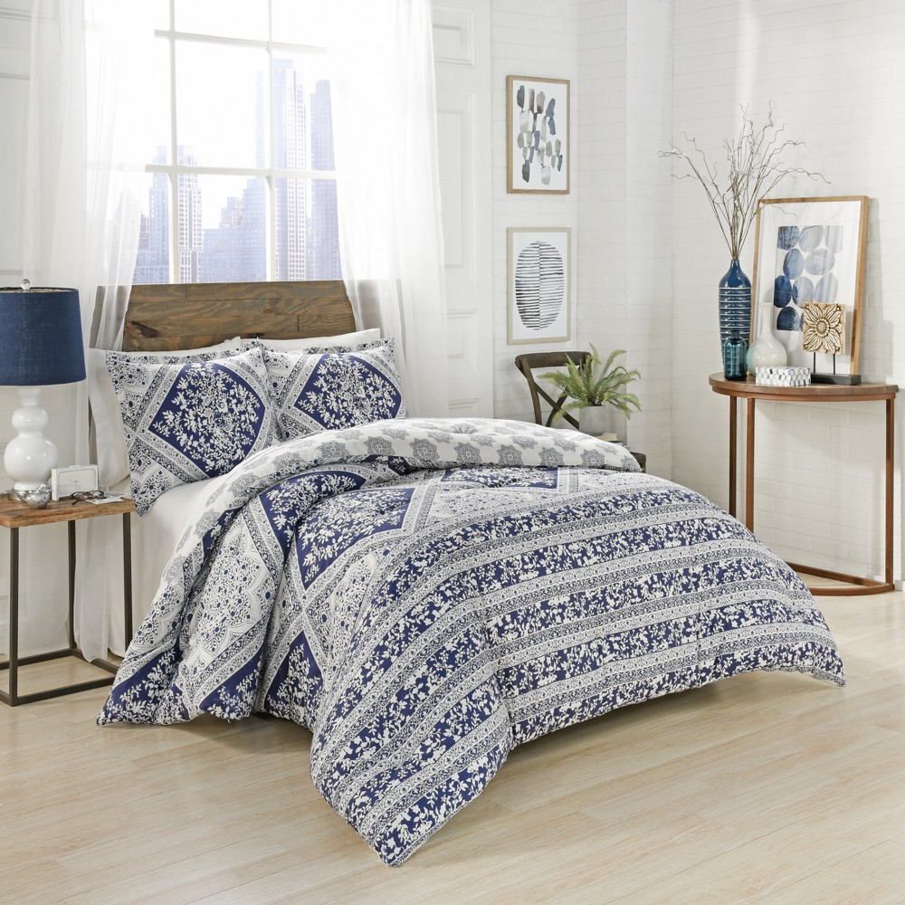 Image of Blue Brielle Reversible Comforter Set (King) - Marble Hill