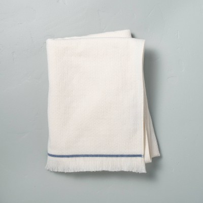 Textured Border Stitch Bath Towel Sour Cream/Faded Blue - Hearth & Hand™ with Magnolia