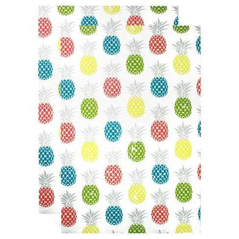 2pk Pineapple Print Kitchen Towels Mu Kitchen Target