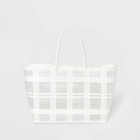 Large Plastic Woven Tote Handbag - A New Day™ Clear - image 1 of 3
