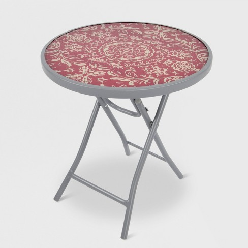 Folding Patio Accent Table Red Medallion Threshold