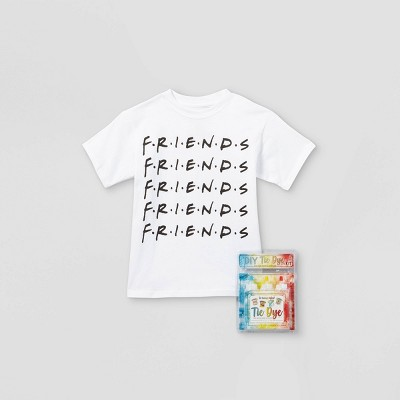 Kids' Friends Short Sleeve Graphic T-Shirt with Tie-Dye Kit - White