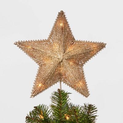 11.5in 10 Light Glitter String Incandescent Star Tree Topper Gold - Wondershop™