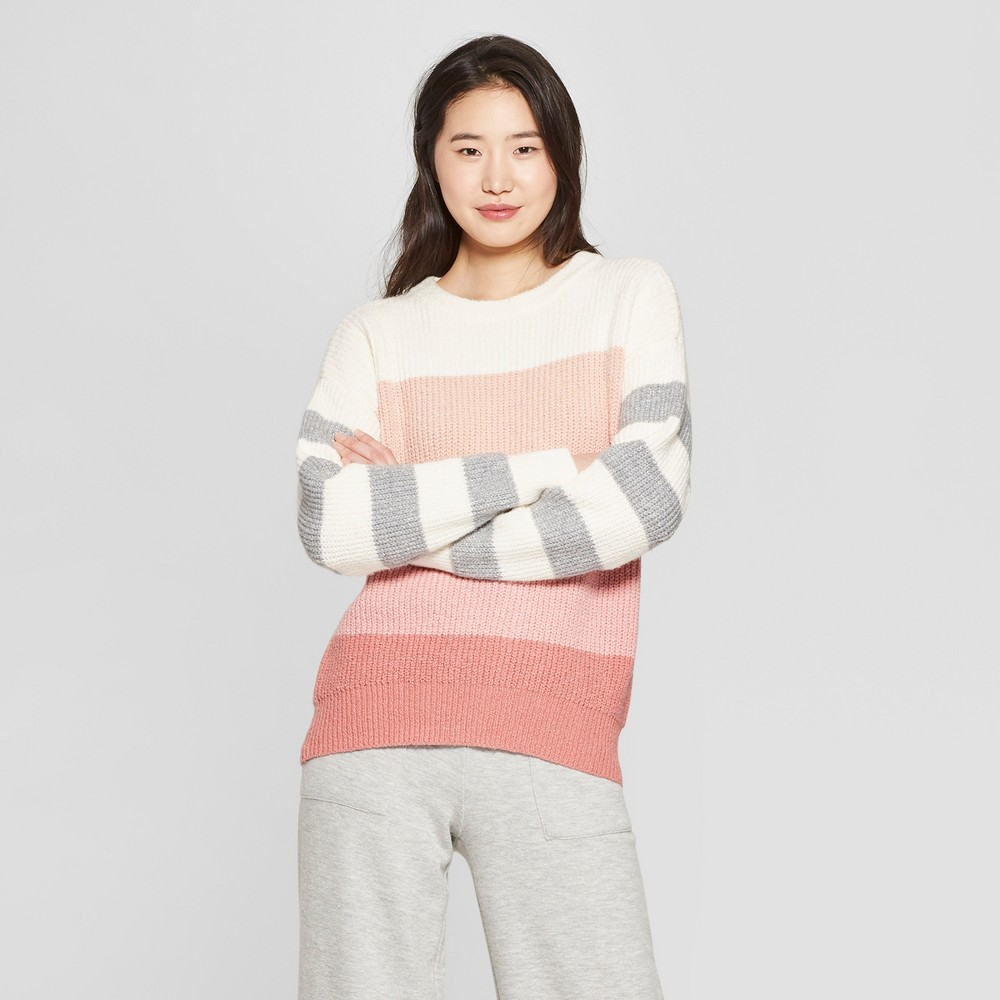 Women's Striped Long Sleeve Crew Neck Tie Back Sweater - Who What Wear Pink/White XS, Peach Stripe