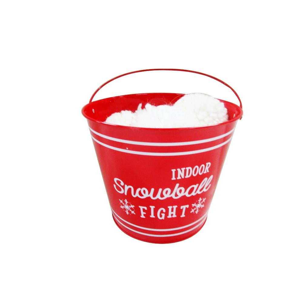 Metal Bucket with Pom Snowballs - Wondershop