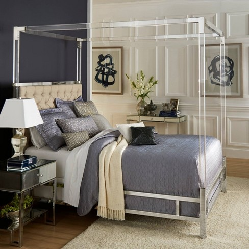 Queen Faye Acrylic And Chrome Canopy Bed With Tufted