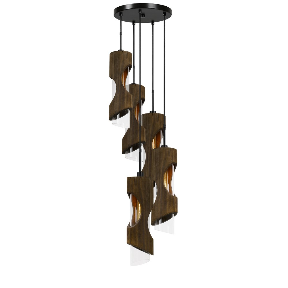 Zamora 5 Light Wood Pendant With Clear Glass Shade Gray 12.3