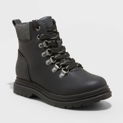 Boys' Atticus Lace-Up Combat Boots - Cat & Jack™ Black