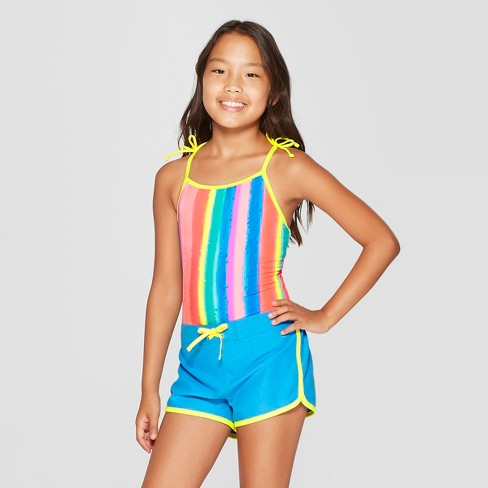 0566092b601 Girls' Splatter Stripe One Piece Swimsuit With Shorts Set - Cat & Jack™ Blue  : Target