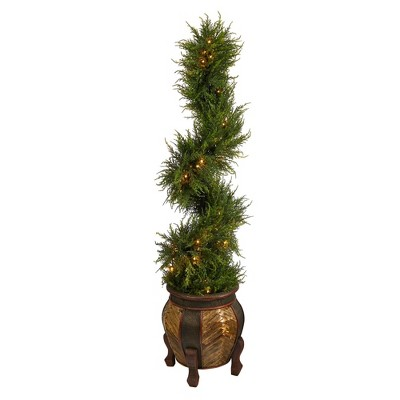 4.5' Indoor/Outdoor Spiral Cypress Artificial Tree with LED Lights in Decorative Planter - Nearly Natural