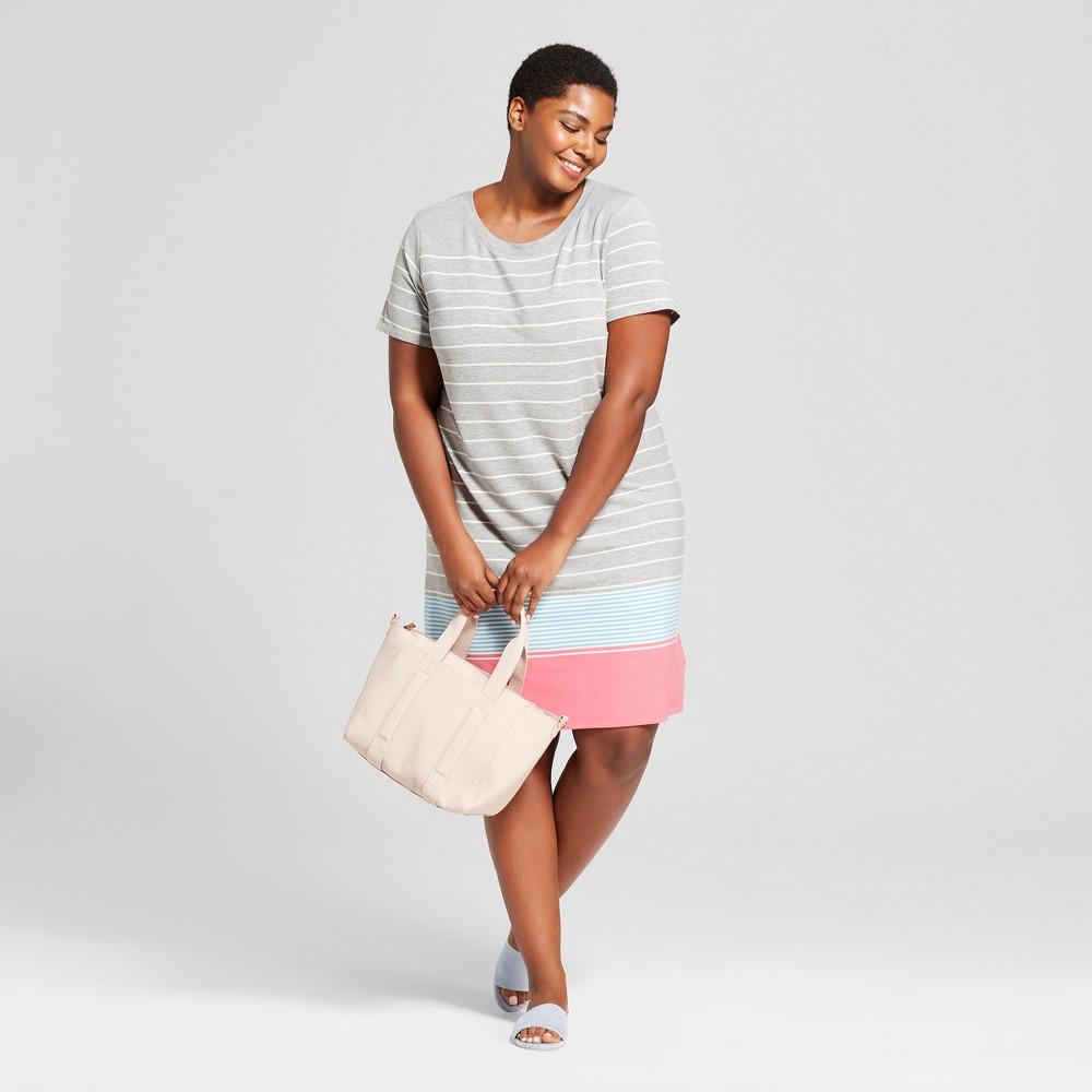 Women's Plus Size Striped T-Shirt Dress - Ava & Viv Gray 2X