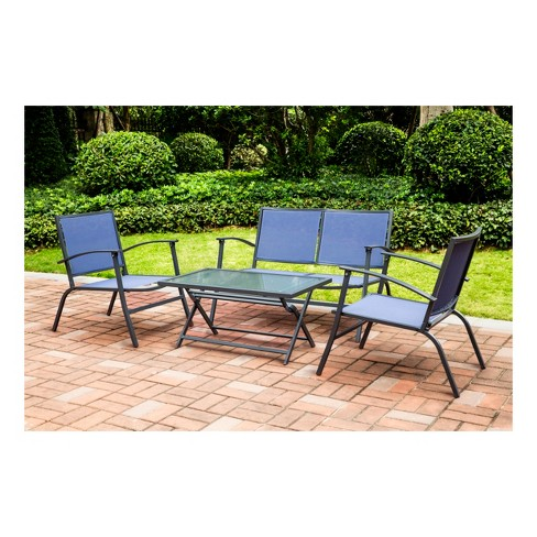 4pc Sling Patio Dining Set - Blue - Threshold™ - image 1 of 17