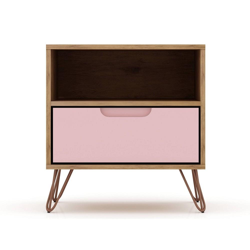 Image of 1.0 Rockefeller Nightstand Rose Pink - Manhattan Comfort, Pink Pink