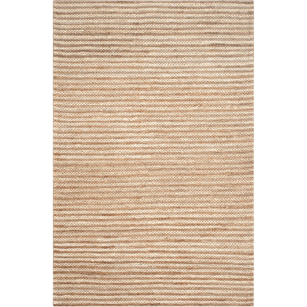 6'X9' Solid Woven Area Rug Light Gray - Safavieh, White