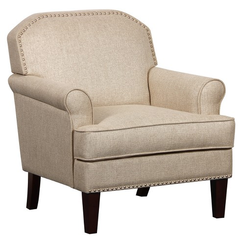 Roll Arm Accent Chair With Nail Head Trim In Linen Beige Pulaski