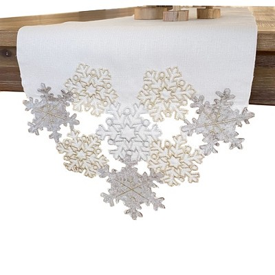 "Ornate Snowflake Elegant Cutwork Winter Holiday Fabric Metallic Table Runner - 13""x70"" - Elrene Home Fashions"