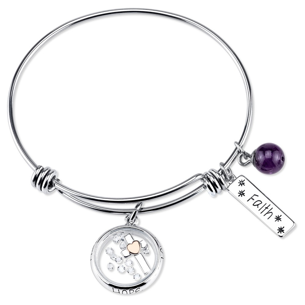 Target Women's Stainless Steel Two Tone Faith Hope Love e...