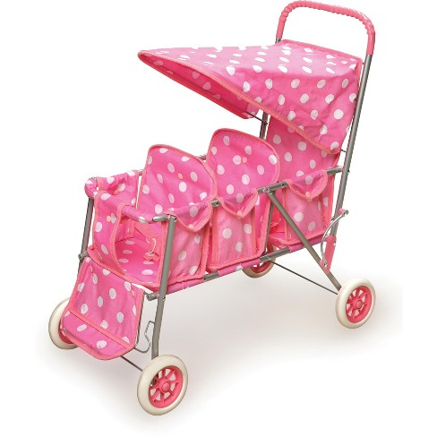 Badger Basket Triple Doll Stroller  Polka Dots - image 1 of 3