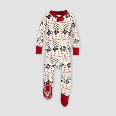 Burt's Bees Baby Striped Holiday Organic Cotton Candy Cane Footed Sleeper - Red 0-3M