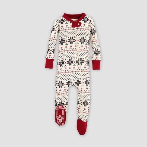 Burt s Bees Baby Striped Holiday Organic Cotton Candy Cane Footed Sleeper -  Red 596b9cc1e