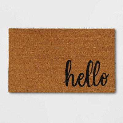 "1'6""x2'6"" Small Hello Door Mat Black - Threshold™"